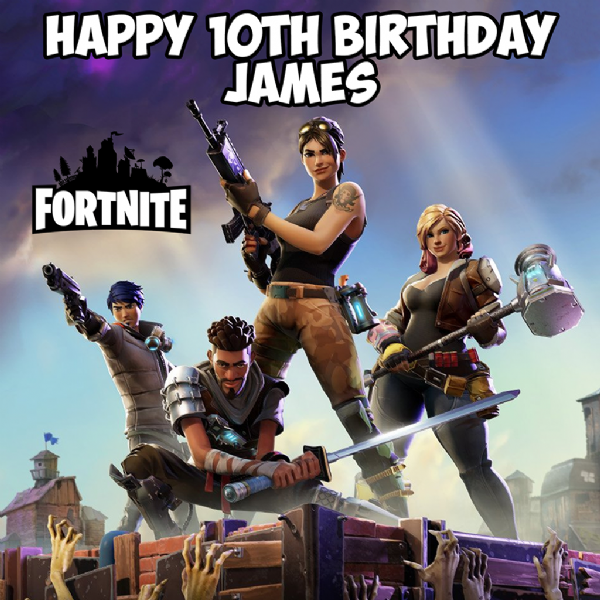 FORTNITE GAME SQUARE PERSONALISED EDIBLE BIRTHDAY CAKE TOPPER
